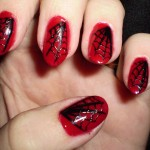 Red and Black Spiderweb Nail Designs , 6 Black Red Nail Design In Nail Category