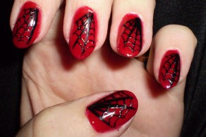 Nail , 6 Black Red Nail Design : Red and Black Spiderweb Nail Designs