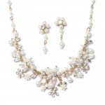 ... Jewelry Sets / Gold Bridal Jewelry Set Pearl Crystal Necklace Earrings , 6 Pearl And Crystal Necklace In Jewelry Category