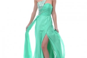 Fashion , 7 Green Vintage Prom Dress Designs : Sage Green Chiffon and Rhinestone One Shoulder Prom Dress