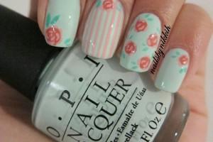 Nail , 8 Vintage Style Nail Designs : Second vintage flower nail design