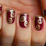 Shimmer Polish Karina with half-frame swirl nail art , 6 Gold Nail Polish Ideas In Nail Category