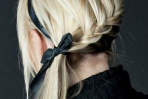 Hair Style , 6 French Braid Hair Band : Spiral French braid with a ribbo