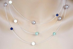 Jewelry , 6 Floating Pearl And Crystal Necklace : Swarovski Crystal Floating Pearl Necklace