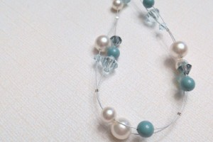 Jewelry , 6 Floating Pearl And Crystal Necklace : Swarovski Floating Pearl and Crystal Necklace