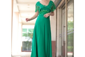 Fashion , 7 Green Vintage Prom Dress Designs : Vilma in Vintage Green Lace Evening Dress