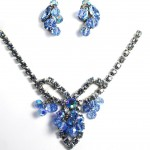 Vintage Blue Rhinestone Crystal Fringe Necklace and Earring Set , 6 Blue Crystal Necklace And Earring Set In Jewelry Category
