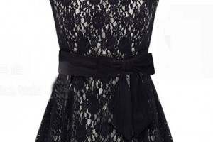 Fashion , 7 Vintage Style Dress : Vintage Style Bud Hem Lace Dress with Bow Tie Waist