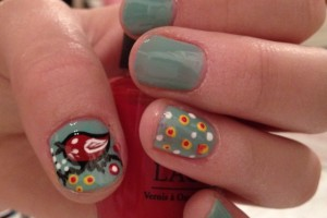 Nail , 8 Vintage Style Nail Designs : Vintage bird nail design