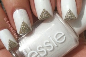 Nail , 6 Gold Nail Polish Ideas : White nail polish gold