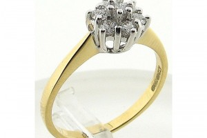 Jewelry , 12 Gold Diamond Ring : Yellow Gold Diamond Cluster Ring