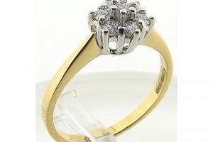 Jewelry , 12 Gold Diamond Ring : Yellow Gold Diamond Cluster Ring