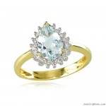 Yellow Gold Diamond Trimmed Pear Aquamarine Ring , 12 Gold Diamond Ring In Jewelry Category