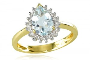 Jewelry , 12 Gold Diamond Ring : Yellow Gold Diamond Trimmed Pear Aquamarine Ring
