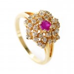 Yellow Gold Ruby and Diamond Flower Ring , 12 Gold Diamond Ring In Jewelry Category
