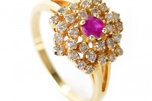 Jewelry , 12 Gold Diamond Ring : Yellow Gold Ruby and Diamond Flower Ring