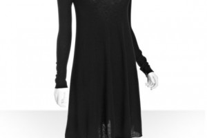 Fashion , 7  Long Sleeve Black Sweater Dress : ... Black Cashmere Long Sleeve Flared Sweater Dress in Black - Lyst