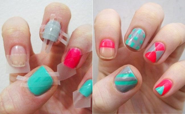 Nail , 6 Scotch Tape Nail Designs : 12 Amazing DIY Nail Art Designs Using Scotch Tape [BuzzFeed Shift]