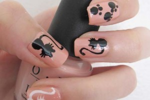 Nail , 7 Black Kitty Nail Art : black cat and white cat nail art