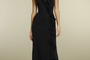 Fashion , 6 Casual Long Black Dress : Black Chiffon Casual Long Bridesmaid Dress with Ruffled Halter Neck ...