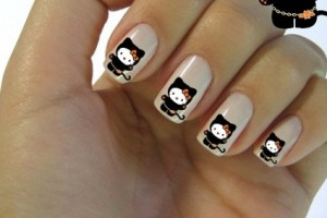 Nail , 7 Black Kitty Nail Art : black kitty nail art