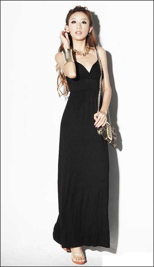 6 Casual Long Black Dress in Fashion