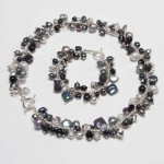 ... TYPE › NECKLACES › Black & Silver Pearls with Crystal Necklace , 6 Pearl And Crystal Necklace In Jewelry Category