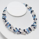 ... TYPE › NECKLACES › Blue, Silver & White Pearl and Crystal Necklace , 6 Pearl And Crystal Necklace In Jewelry Category