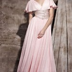 chiffon vintage a line vneck short long prom dress , 7 Long Vintage Prom Dresses In Fashion Category