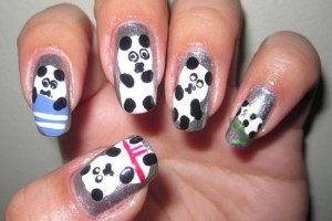 Nail , 5 Panda Nail Art Designs : cute grey Panda Nails Art Designs