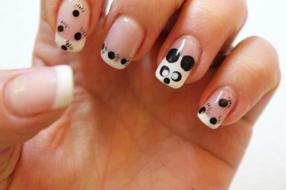 Nail , 5 Panda Nail Art Designs : Cutu White Panda Nail Art