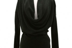 Fashion , 7  Long Sleeve Black Sweater Dress : Long Sleeve Draped Cowl Neck Sweater Dress-Black