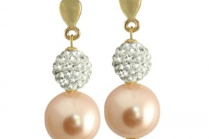 Jewelry , 6 Gold Drop Earrings : ... / Amoureuse Peachy Pink Shell Pearl and Diamante Gold Drop Earrings
