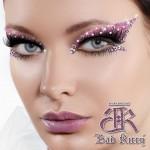 Passionate Pink/Clear Rhinestone Xotic Eyes   Makeup , 6 Rhinestone Eye Makeup In Make Up Category