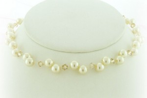 Jewelry , 6 Floating Pearl And Crystal Necklace : floating pearl and crystal necklace