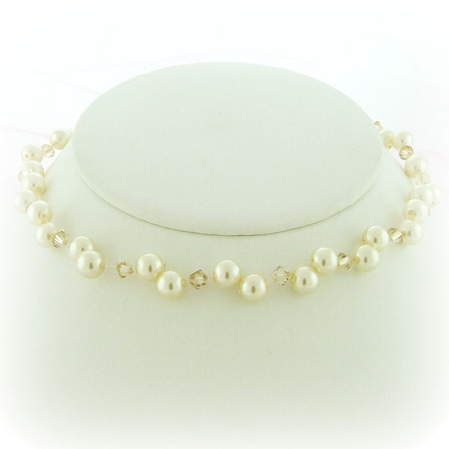 6 Floating Pearl And Crystal Necklace in Jewelry