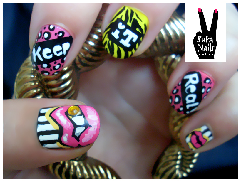 Nail , 7 Lips Nail Art Design : Funky Lips Nail Design