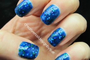 Nail , 6 Blue Prom Nail Designs : Polish went on smoothly, no problems with glitter placement....