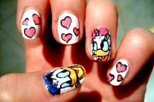 Nail , 6 Romantic Nail Art Design : : Romantic Lovable Donald And Dessy Duck Polish Nail Art Designs ...