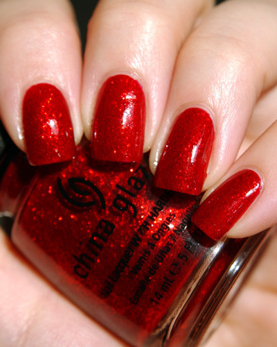 Nail , 6 Red Nail Polish Ideas : Glitter Red Nail Polish