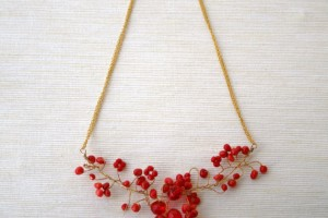 Jewelry , 6 Crystal Bib Necklace Etsy : Red Coral and Crystal Wire Wrapped Bib Necklace, Branches, Natural ...