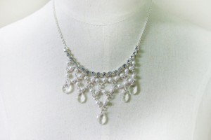 Jewelry , 6 Crystal Bib Necklace Etsy : pearl crystal beaded bib necklace - silve necklace - white bridal ...