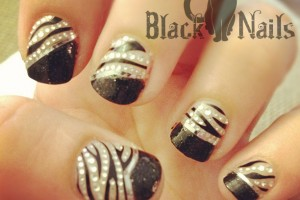 Nail , 7 Black Kitty Nail Art : kiss wrap Black Cat Nails