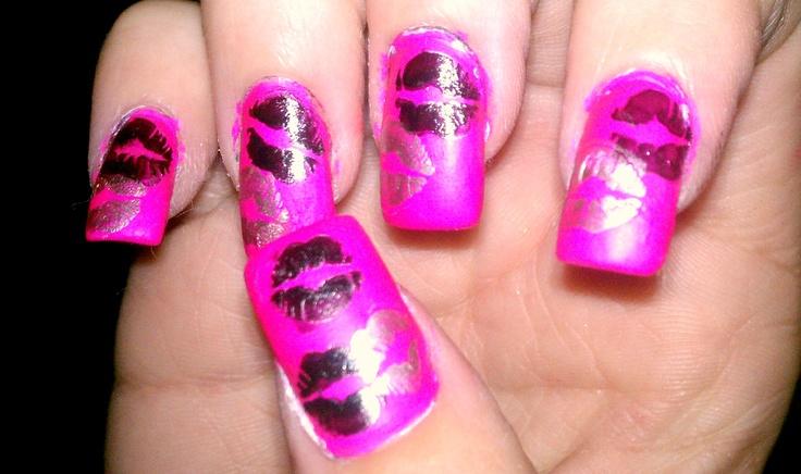 Nail , 7 Lips Nail Art Design : Kissy Lips Nails Pink Nail Designs