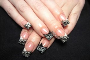 Nail , 10 Lace Nail Art Design : lace black nail art design