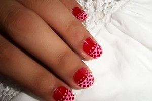 Nail , 10 Lace Nail Art Design : lace red nail art design