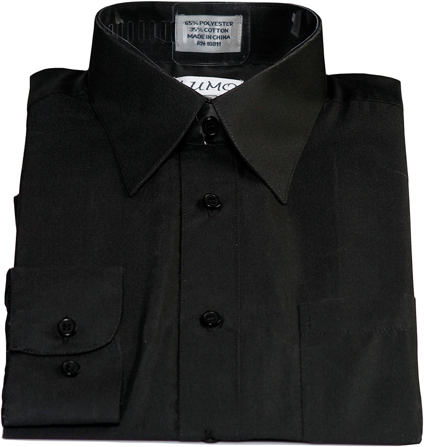 8 Boys Long Sleeve Black Dress Shirt in Fashion