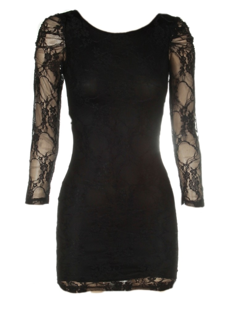 Fashion , 6 Black Lace Dress With Long Sleeves : You Are Here: Home > Black V Neck Back Lace Layered Long Sleeve Dress