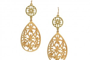 Jewelry , 6 Gold Drop Earrings : Ornate Brushed Gold Drop Earrings