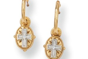 Jewelry , 6 Gold Drop Earrings : Gold-Tone Etched Cross Drop Earrings